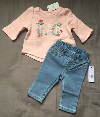 Baby Girl 0-3 Month Baby Gap Pink Floral Logo Top & Pull On Banded Jeggings