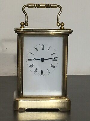 Vintage 1930's Swiss Solid Brass Carriage Clock With German Quartz Movement