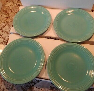 "DINNER PLATES set of 4) Turquoise FIESTA WARE HOMER LAUGHLIN 10.5"" Used"