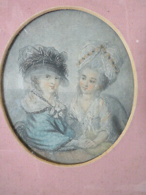 Small Miniature Portrait Georgian Young Ladys Holding Hands