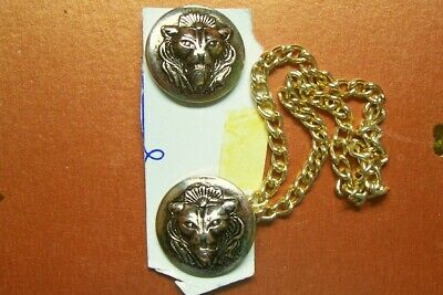 Vintage metal lion's head cape fastener/toggle and chain on original card