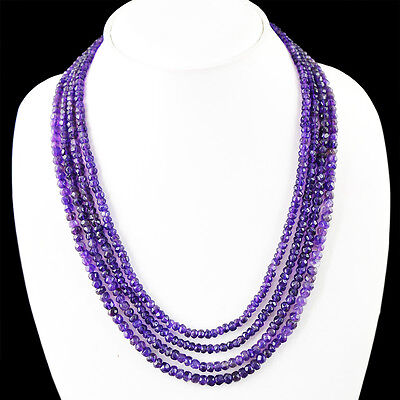 285.00 Cts Natural 4 Line Rich Purple Amethyst Round Faceted Beads Necklace