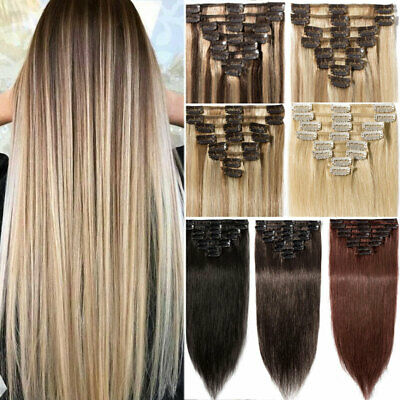 Natural Soft Remy Hair Clip in Real Human Hair Extensions Full Head Highlight UK