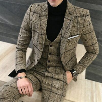 Mens Fashion Wool Blend Casual Wear Suit Three-piece Set Solid Color Coat S-5XL