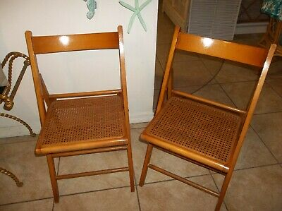 2 Vintage Mid Century Beech Wood & Cane Folding Chairs Antique