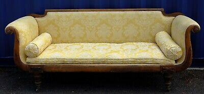 Antique quality Regency/Early Victorian Scroll Arm Sofa Chaise-longue Rosewood.
