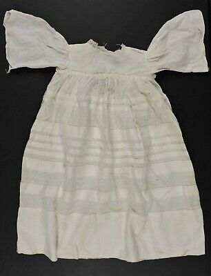 Antique Victorian 19Th C Bell Sleeve Cotton Doll Dress