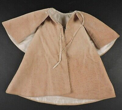 Antique Victorian 19Th C Corduroy Doll Cape For Dress W Silk Lining
