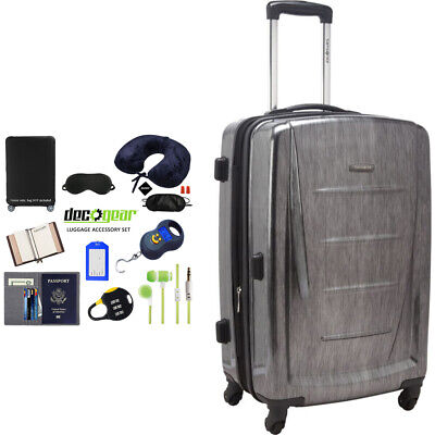 """Samsonite Winfield 2 Fashion HS Spinner 24"""" Charcoal + Luggage Accessory Kit"""