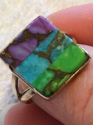 Beautiful Tri-Color Copper Turquoise Ring Size 7 set in .925 Silver
