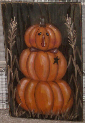 *~*primitive*~* Hp Folk Art Prim Pumpkin Scarecrow *~* Wheat *~* Fall*~* Board
