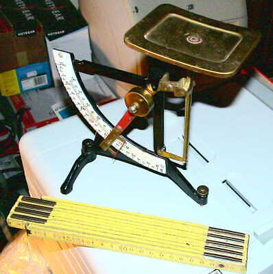 Alte Briefwaage Waage Gusseisen Skala emailliert Letter Scale Cast Iron Enamelin