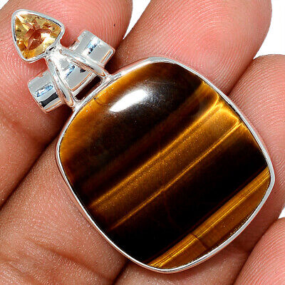 Tiger Eye - South African & Citrine 925 Sterling Silver Pendant Jewelry AP101596