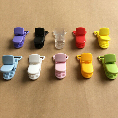 EB_ 10pcs Colored Plastic Suspender Soother Pacifier Holder Dummy Clips For Baby