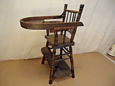 """Antique Doll High-Chair Convertible About 19"""" Tall All Wood Original Paint"""