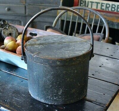Large Antique 19th c Pantry Box in Original Early Grungy Green Painted Surface *