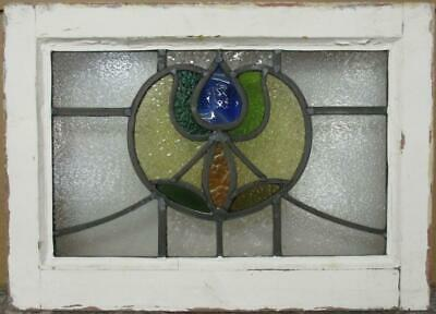 "OLD ENGLISH LEADED STAINED GLASS WINDOW Abstract Floral Sweep 19.75"" x 14.25"""
