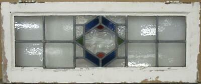 "OLD ENGLISH LEADED STAINED GLASS WINDOW TRANSOM Gorgeous Geometric 32"" x 13"""