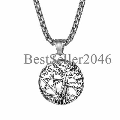 Viking Mens Boys Tree of Life Pentagram Hollow Charm Pendant Biker Necklace 22""