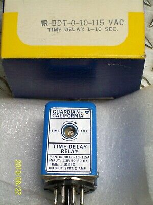 New Guardian California Ir-Bdt-0-10-115 Time Delay Relay 1-10 Second