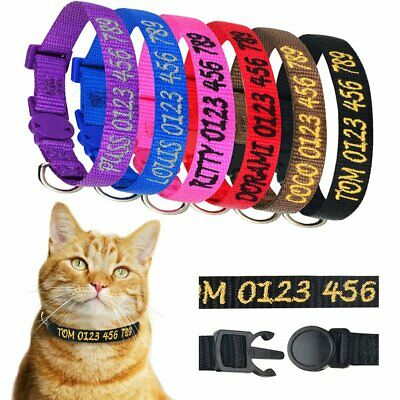 Breakaway Cat Nylon Personalized Collar Kitten Pet Embroidered ID Name 20-30cm