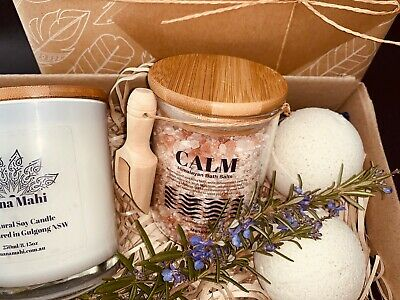 Bath & Relaxation Pamper Gift Pack, Birthday Gift Pack, Candle & Bath Salt Gift