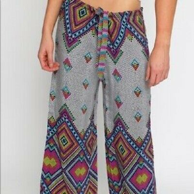 ALICE & TRIXIE 'Alec' 100% Silk Geometric Abstract Boho Palazzo Wideleg Pants S
