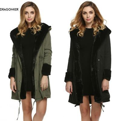 Stylish Ladies Women Lady Hooded Winter Warm Thick Faux Fur Coat Parka DNKR 03