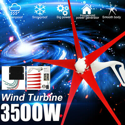 3500W DC 12V/24V 5 Blades Horizontal Wind Turbine Generator W/ Charge Controller