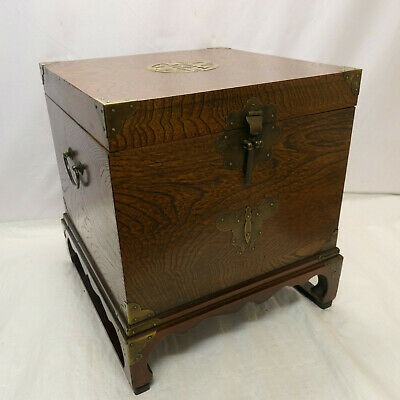 Vintage Decorative ELM and PINE WOOD CHEST Storage BOX Chinese 1930s #965