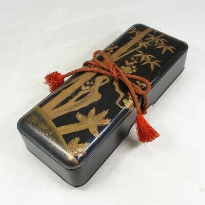 A902: Japanese really old lacquered letters box FUBAKO with MAKIE and NASHIJI
