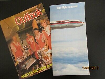 Ansett Australia Collectables Outlook Magazine and Flight Souvenir with Map