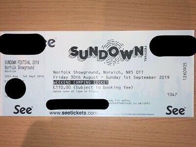 Sundown Festival Weekend Camping Ticket - 30 August to 1st September 2019.