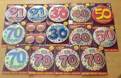 Bargain! 14 Packs of Giant Party Badges - Ages 21 to 70 - Ex-Shop Displayed Only