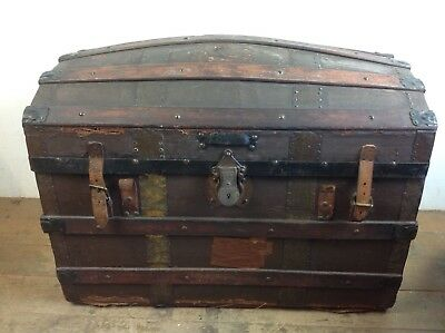 Antique dome top Storage Wood chest trunk leather handles old
