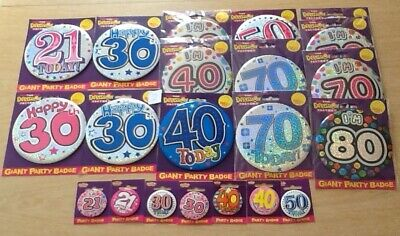 Bargain! 21 Packs of Large Party Badges.  Ages 21 to 80 - Ex-Shop Displayed Only