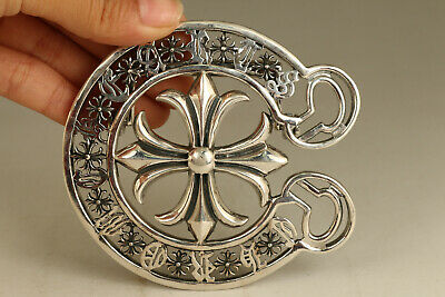 BIG fine silver 925 hand casting cross statue 79g buckle