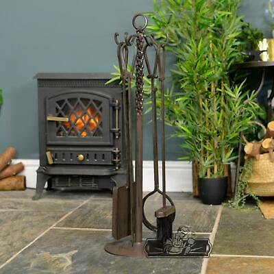 """""""The Buttersworth"""" Cast Iron Rustic Knot Design Fireside Companion Set"""