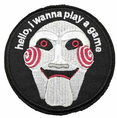 """Saw Horror Movie Jigsaw Mask 3"""" Diameter Embroidered Iron on Patch"""