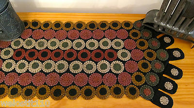 """PRIMITIVE PENNY RUG RUNNER. """"PENNY PATCH"""".   13"""" by 37"""".   JUST BEAUTIFUL!"""