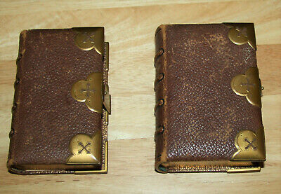 Antique leather Holy Bible 1868 PLUS Common Prayer 1869 BRASS CLASPS & CORNERS
