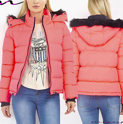 New Womens Ladies Quilted Winter Coat Puffer Fur Collar Hooded Jacket Parka Neon