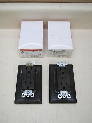 2 New Pass & Seymour 1595 1597 15A 125V Brown GFCI Duplex Receptacle Outlet Lot