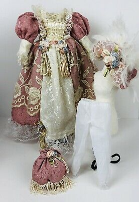 """Vintage Victorian Doll Dress Clothes Dusty Rose Floral Lace Hat For 18"""" Dolls"""