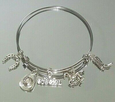 Cowgirl Western Horse Cowboy Hat Boot Expandable Wire Bangle Charm Bracelet