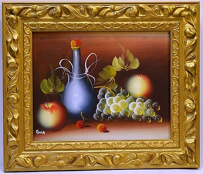"""WINE APPLE GRAPE FRUIT 10"""" painted oil painting office home decor wall ART F15"""