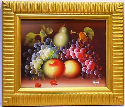 """APPLE GRAPE PEAR FRUIT 10"""" oil painting OFFICE HOME  WALL DECOR ART GIFT F22"""