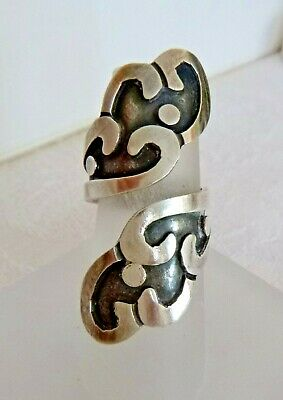"""Vintage Large Sterling Silver Overlay Wrapped Ring 7.6 Grams Signed """"ESTEROS"""""""