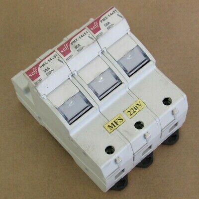 Df Electric 3-Pole Industrial Finger Safe Fuse Block Pmx-14X51 50A 690V