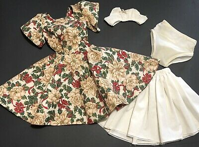 """VTG Large Doll Dress Clothes Christmas Outfit Bra Panties Slip Fits 28"""" Dolls"""